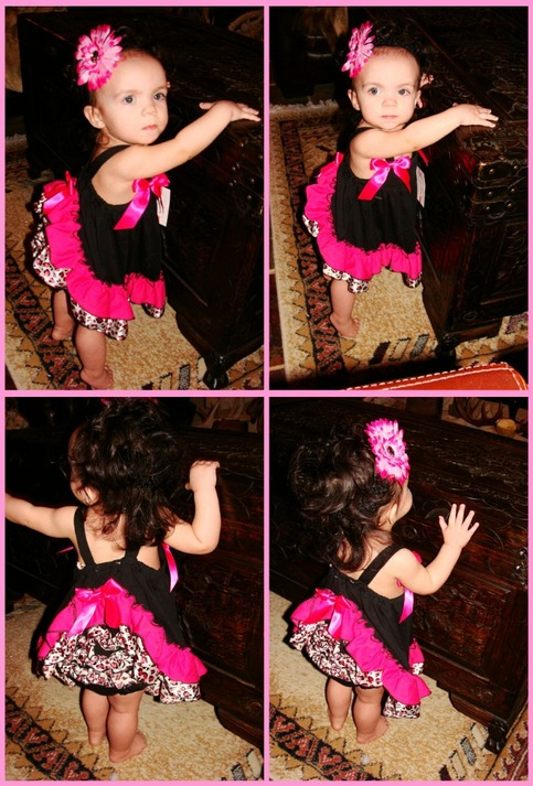 Leopard with Pink Black and Pink Swing Set Butterfly Dress Set Outfit 2 pcs Ruffle Bloomer and Top