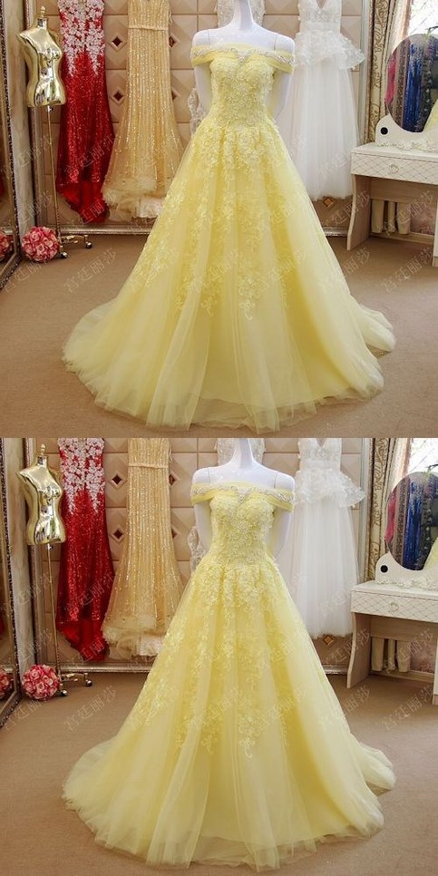Elegant Prom Dress Plus Size Yellow Lace Off The Shoulder