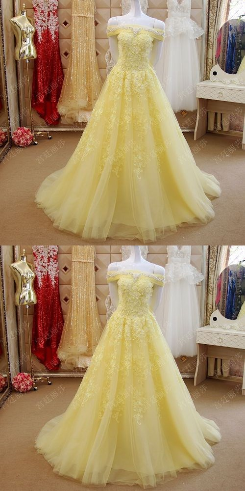 Elegant Prom Dress,Plus Size Yellow Lace Off the Shoulder Ball Gown ...