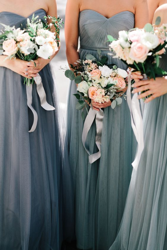 Grey Blue Bridesmaid Dresses