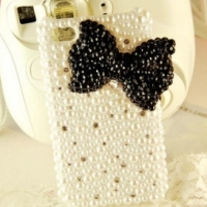 Big Bling Black Bow With All Pearls And Crystals iPhone 4 Case