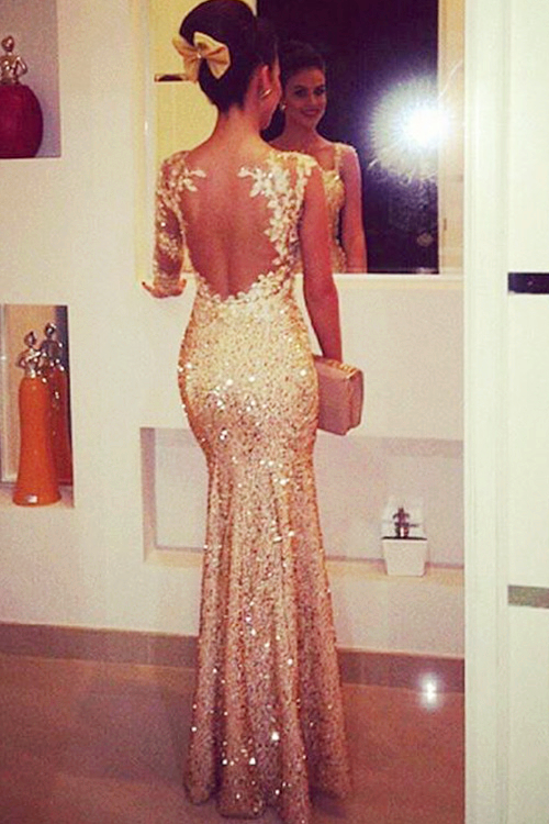 Charming Gold Sequins Prom Dresses Formal Evening Dresses Ifgirl