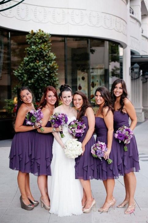 Purple short bridesmaid dress strapless summer beach for Modest wedding dresses seattle