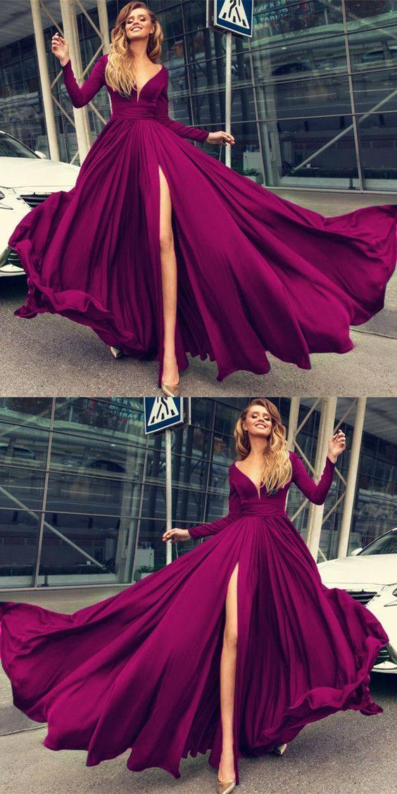 Charming Prom Dress,Long Prom Dresses,Long Sleeves Evening Dresses ...