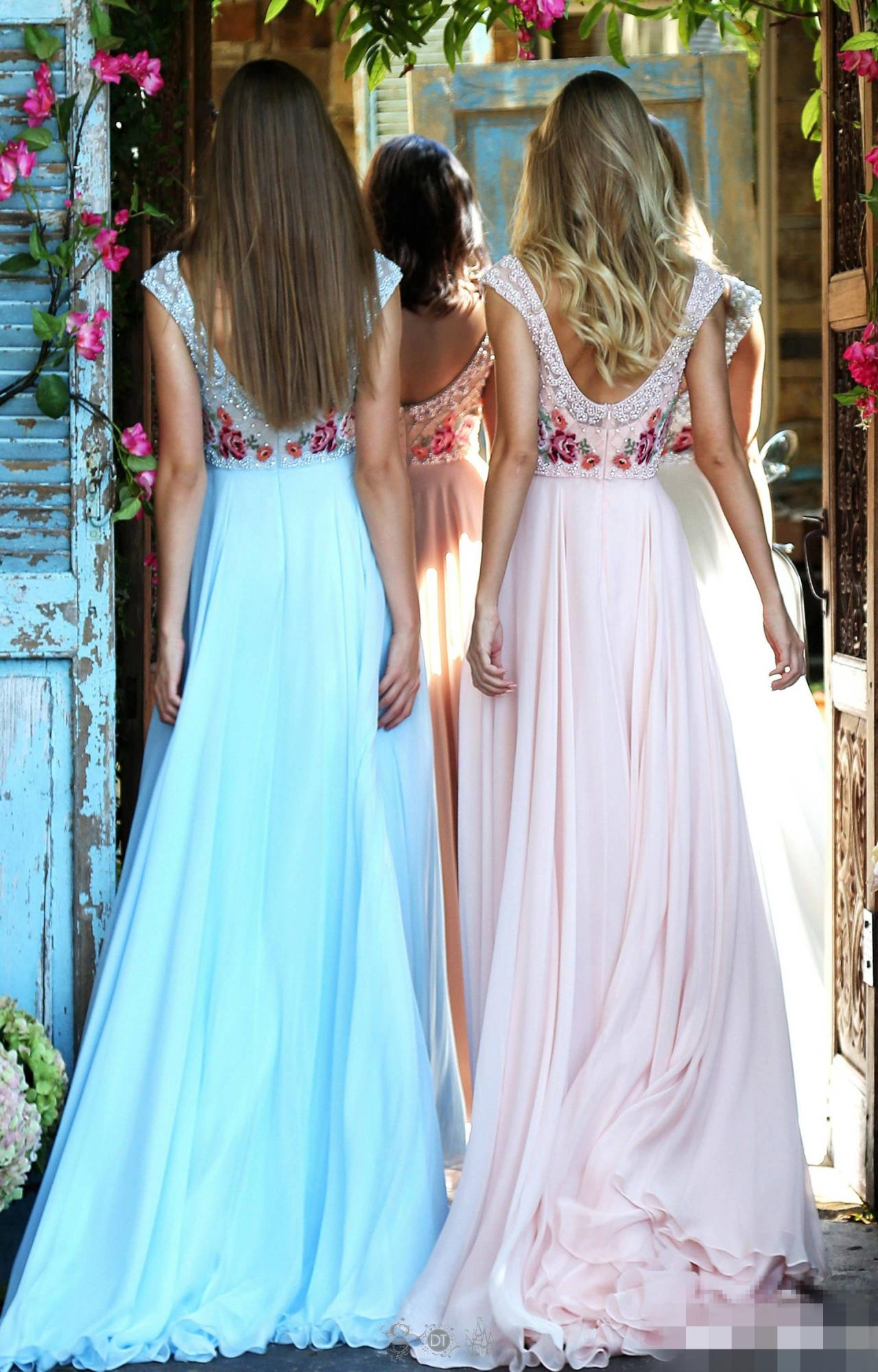 A-Line/Princess Scoop Neck Floor-Length Chiffon Evening Dress With ...