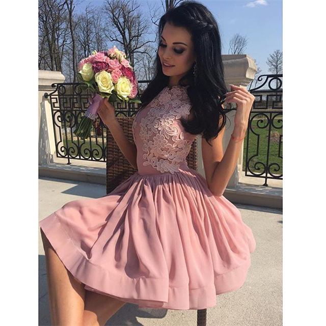 Pink Homecoming Dresses Jewel Neck Lace Appliques Chiffon Short Prom ...