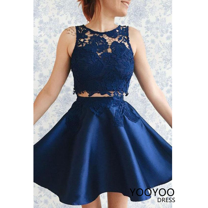 Two Piece Navy Blue Homecoming Dress,Navy Blue Short Prom Dresses from  YooYooDress