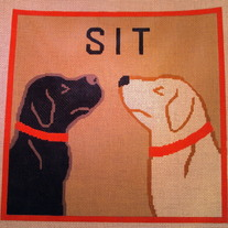 Sit, 2 Dogs Pillow Canvas on 13 Mesh