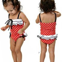 SOLD OUT Swimsuit - One piece red suit with hat for 2 piece set