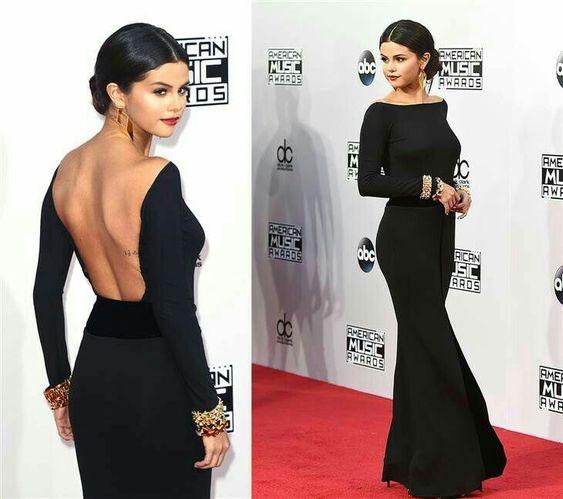 Inspired By Selena Gomez Celebrity Dresses Black Mermaid Long Sleeve