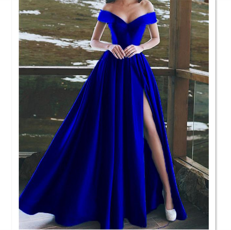 Burgundy Satin V-neck Long Prom Dresses Leg Split Evening Gowns ...