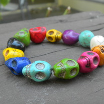 Small Rainbow Color Skull Bracelet