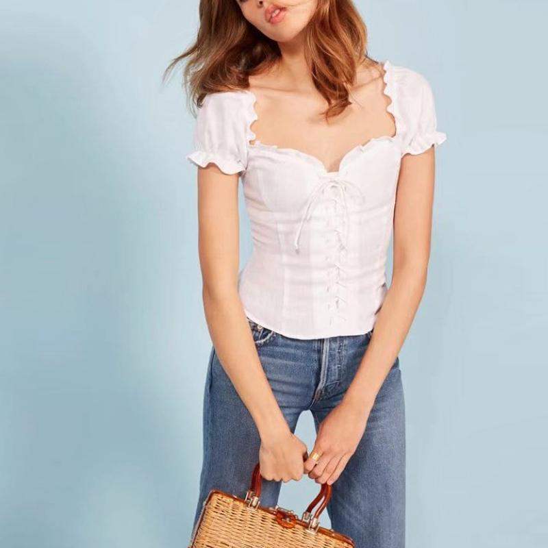 cffad5355c83 XS S M white black red gingham short puff sleeve off shoulder pin-up top  button