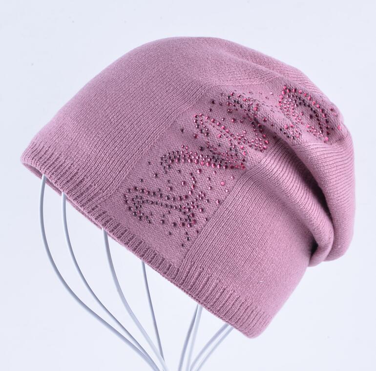 1ac657da1ed ... Rhinestone Solid Knitted Beanie Caps Women Autumn And Winter Beanies  Bonnet Female Hiver Bonnets Femmes Girls