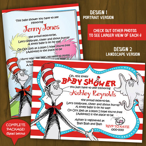 Dr. Seuss Cat in the Hat Baby Shower Invitation · Splashbox Printables · Online Store Powered by ...