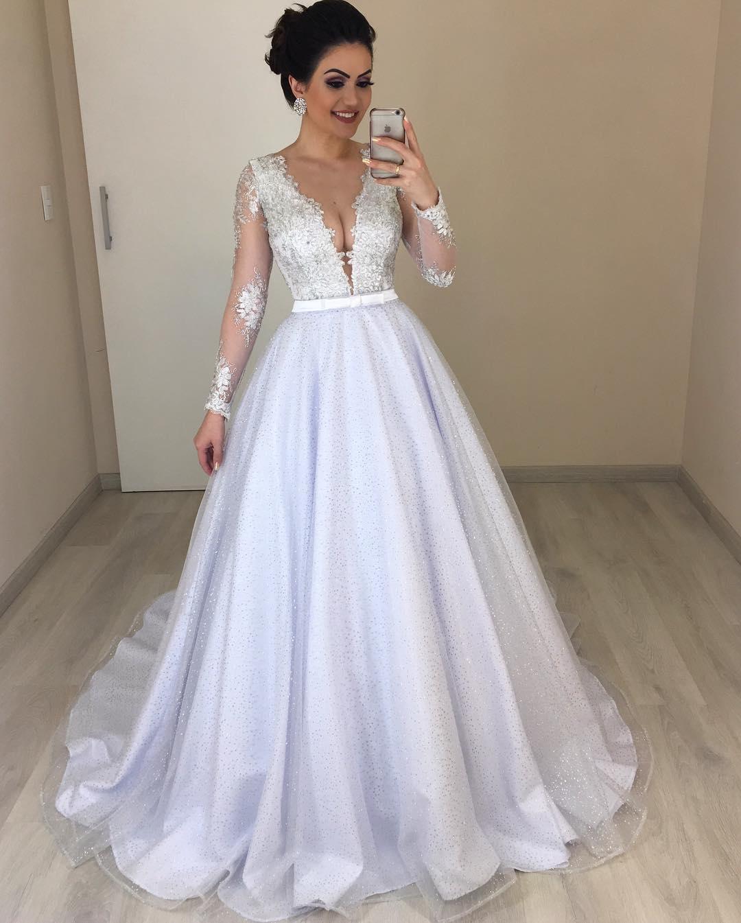 2019 Long Sleeve Lace V Neck Vintage Wedding Dress Bridal Gown Custom Size 2-26W