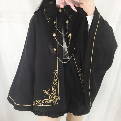 New dark earl cross embroidered swallowtail cape coat