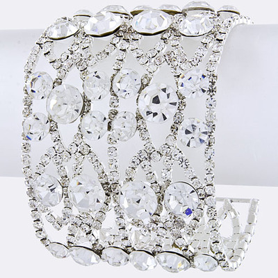 Wide crystal statement bracelet bridal wedding jewelry