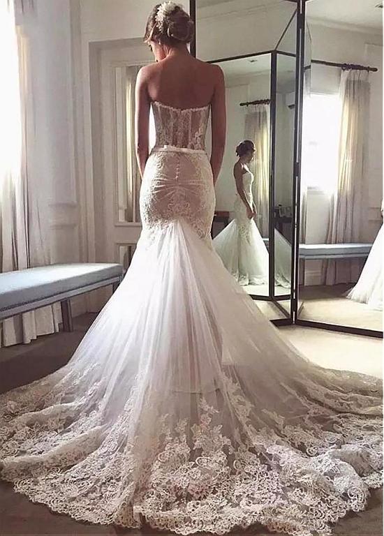Fantastic Tulle Lace Sweetheart Neckline Mermaid Wedding Dress