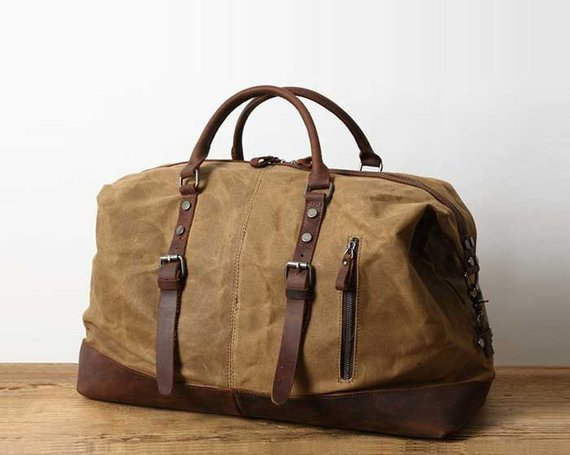 dbfcca8444 Handmade Distressed Leather Water Proof Waxed Canvas Duffel Bag Weekend Bag  Overnight Bag Holdall Luggage Bag