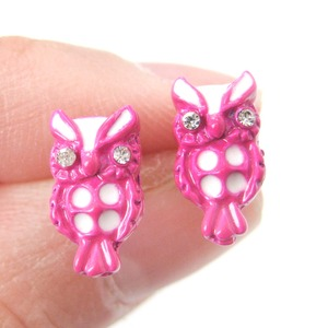 Small Cute Owl Bird Animal Stud Earrings in Pink and White Enamel