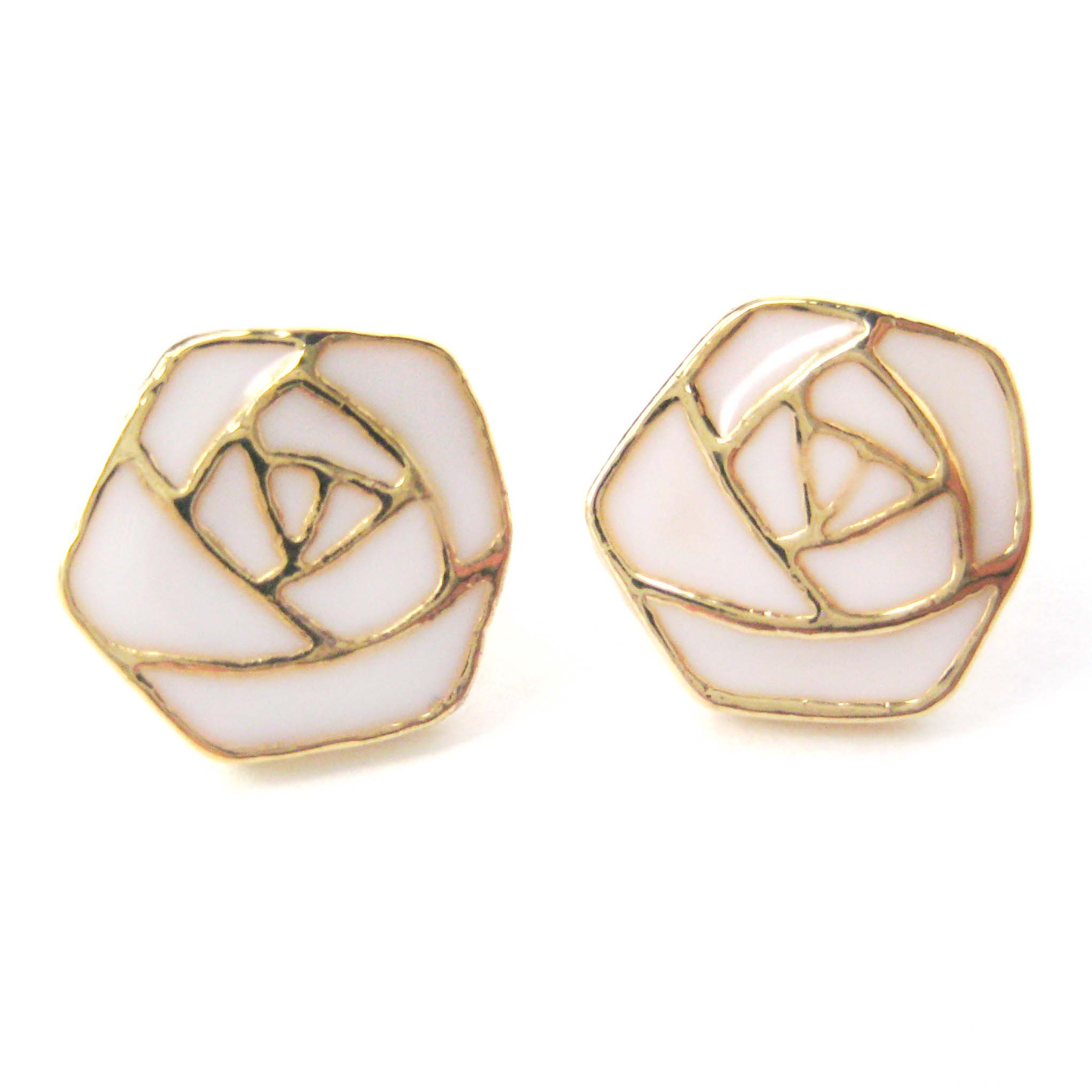 Small Floral Rose Shaped Outline Stud Earrings in White on Gold ...