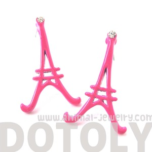Eiffel Tower Shaped Paris Outline Large Stud Earrings in Pink