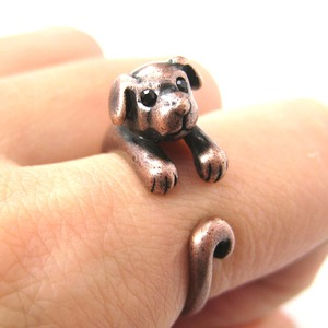 Miniature Puppy Dog Animal Wrap Ring in Copper - Sizes 5 to 9