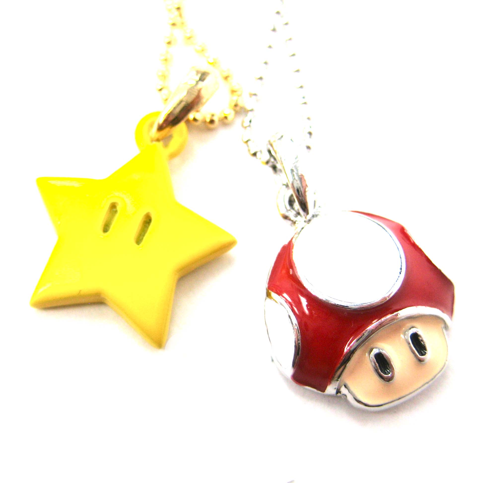 Super mario themed mushroom and super star power up pendant necklace super mario themed mushroom and super star power up pendant necklace mozeypictures Image collections