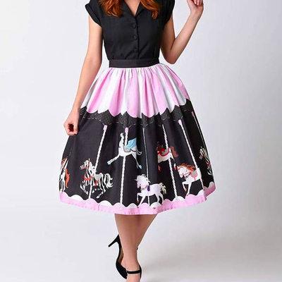 36b0fb99c14 S m l black white pink striped unicorn carousel print a-line sweet gothic  lolita skirt