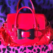 Gucci Red Leather/Patent Leather Handbag/Purse/Bag
