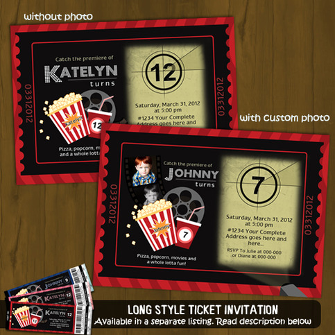 Cinema Ticket Invitation - Movies and Popcorn · Splashbox ...
