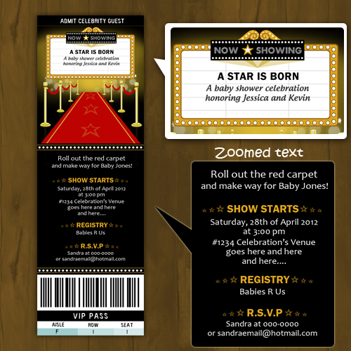 Hollywood baby shower invitation ticket style a star is born hollywood baby shower invitation ticket style a star is born filmwisefo Image collections