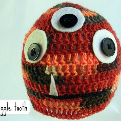 Snaggle tooth - hand crocheted monster baby hat
