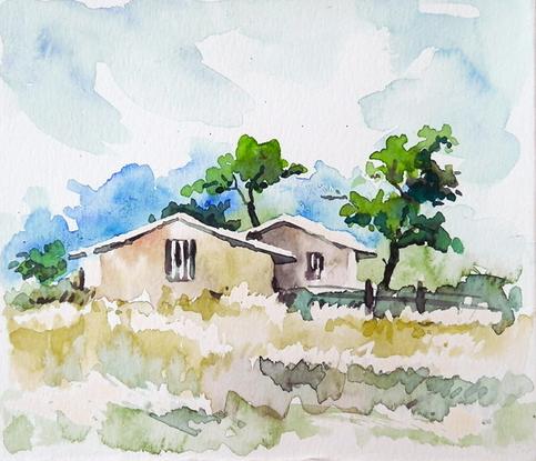 Village View Original Watercolor Painting Landscape