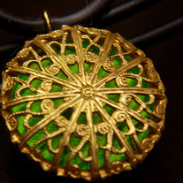 Green Shadows Filigree Pendant Necklace