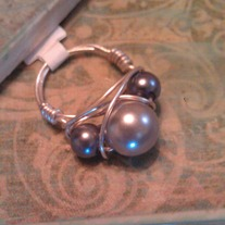3 Pearl Wire Wrapped Ring
