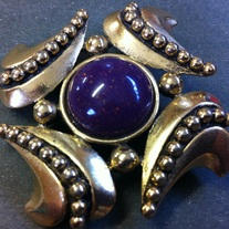 Dauplaise Purple Cabochon Stone Brooch Designer Signed