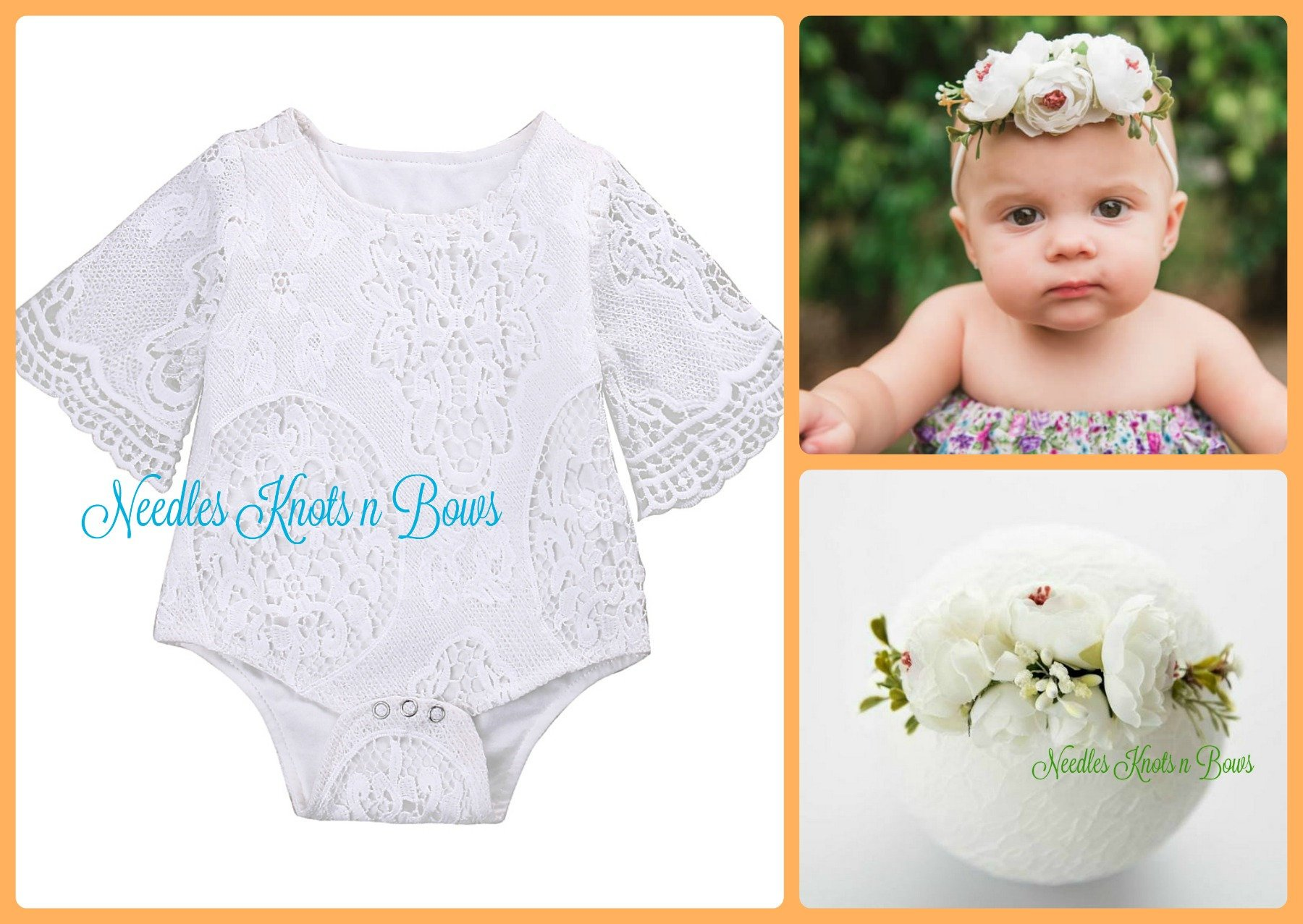 f96190b62 Baby Girls 2pc White Lace Romper w/ Headband, Girls Baptism, Christening  Outfit,