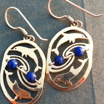 Dolphins Oval Earrings with Lapis Beads