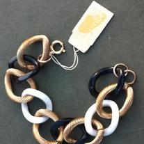 Lisner Black and White and Gold Link Bracelet Vintage