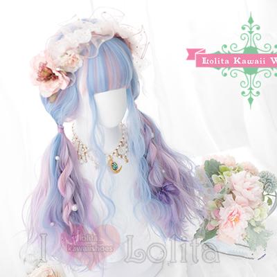Japanese fashion harajuku kawaii candy colors long curly wigs daily wigs lk19052811