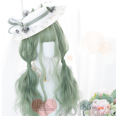 Japanese fashion harajuku kawaii matcha color long curly wigs daily wigs lk19052815