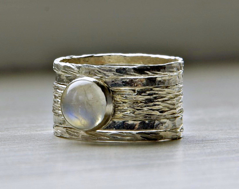 simone unique rustic stackable moonstone wedding ring