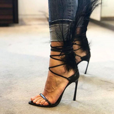 Super hot black feather back open toe women sandals concise style ladies lace up high heels fashion gladiator sandals g-2982