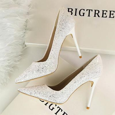 Shinning crystal pointed toe high stiletto heels prom shoes g-2983