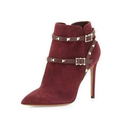 Leopard pointed toe zipper stiletto high heels short boots g-2985