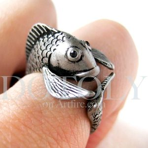 Miniature Fish Animal Wrap Around Ring in Silver - Sizes 5 to 9 available