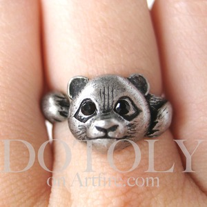 Miniature Panda Ring in Silver - Sizes 5 through 8 available