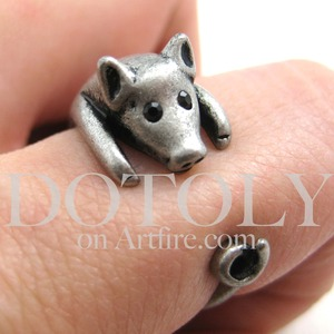 Miniature Piglet Pig Animal Wrap Ring in Silver - Sizes 4 to 8.5 Available